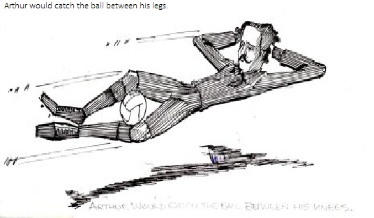 Arthur would catch the ball between his legs.